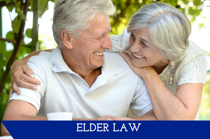 "An elderly woman with her arm around an elderly man.  They are looking at each other with wide smiles.  A banner at the bottom reads ""Elder Law."""