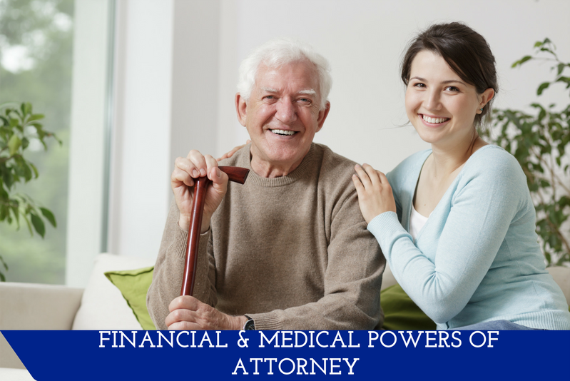 "An elderly man and a younger woman sitting on a couch.  The woman has her arm around the man.  A banner at the bottom reads ""Financial & Medical Powers of Attorney."""