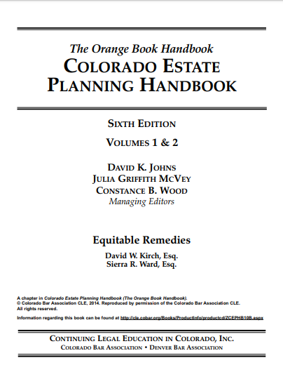 "An image of the article, ""Colorado Estate Planning Handbook – Chapter 51 Equitable Remedies."" If clicked on, it will open the article."