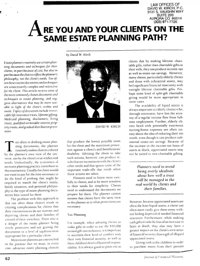 "An image of the article, ""Are You and Your Clients on the Same Estate Planning Path?"" If clicked on, it will open the article."