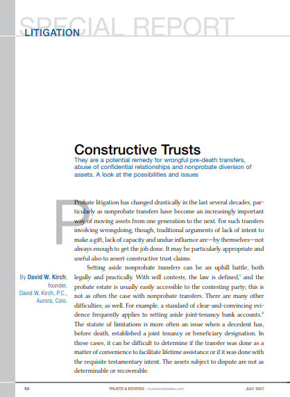 "An image of the article, ""Constructive Trusts, courtesy of trustandestates.com."" If clicked on, it will open the article."